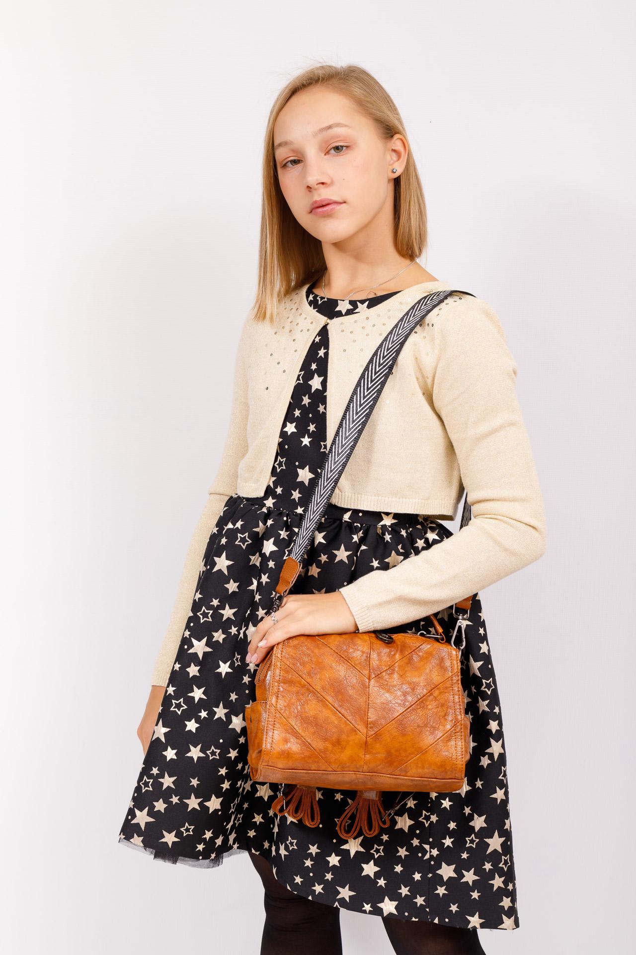 На фото 5 - Сумка женская рюкзак из искусственной кожи, цвет рыжий