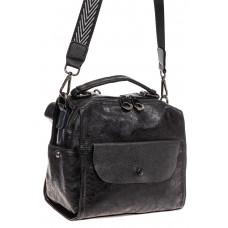 На фото 1 - Сумка - рюкзак женская из искусственной кожи, цвет черный