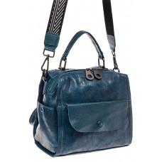 На фото 1 - Сумка - рюкзак женская из искусственной кожи, цвет синий