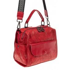 На фото 1 - Сумка-рюкзак женская из искусственной кожи, цвет красный