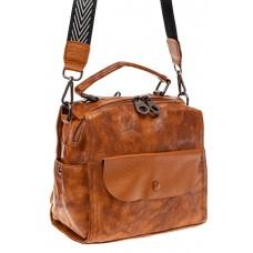 На фото 1 - Сумка - рюкзак женская из искусственной кожи, цвет рыжий