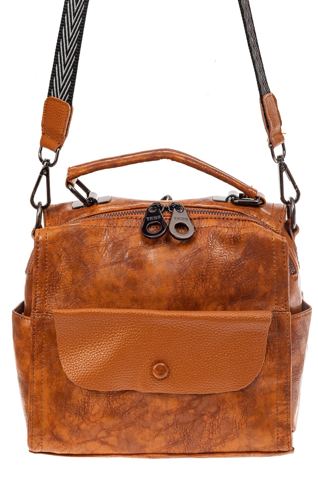 На фото 2 - Сумка - рюкзак женская из искусственной кожи, цвет рыжий