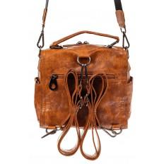 На фото 3 - Сумка - рюкзак женская из искусственной кожи, цвет рыжий