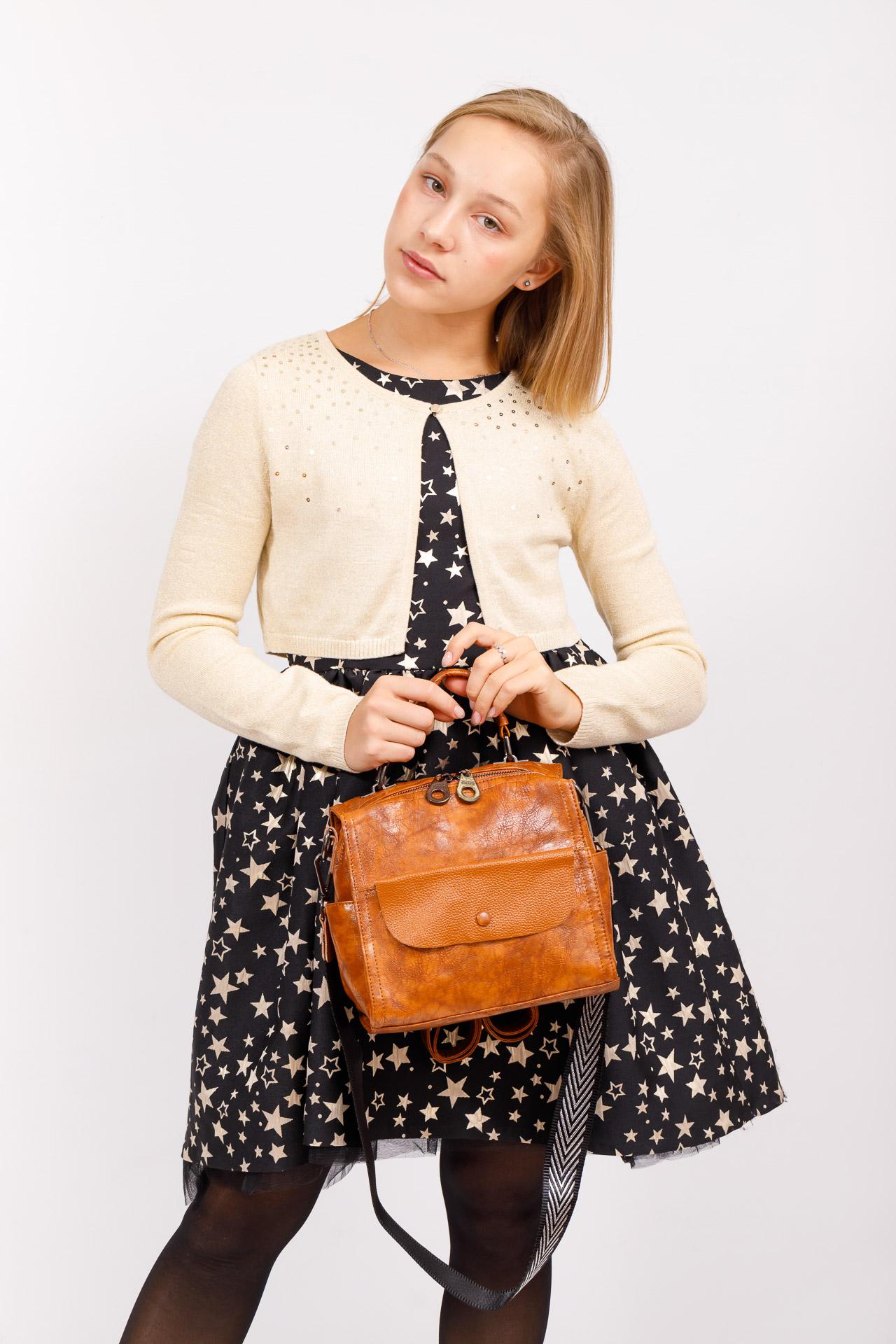 На фото 5 - Сумка - рюкзак женская из искусственной кожи, цвет рыжий