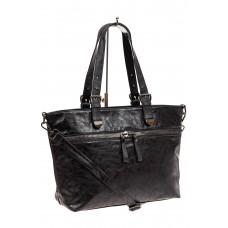 На фото 1 - Большая сумка женская комбинированная, цвет черный