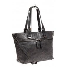 На фото 1 - Большая сумка женская комбинированная, цвет серый