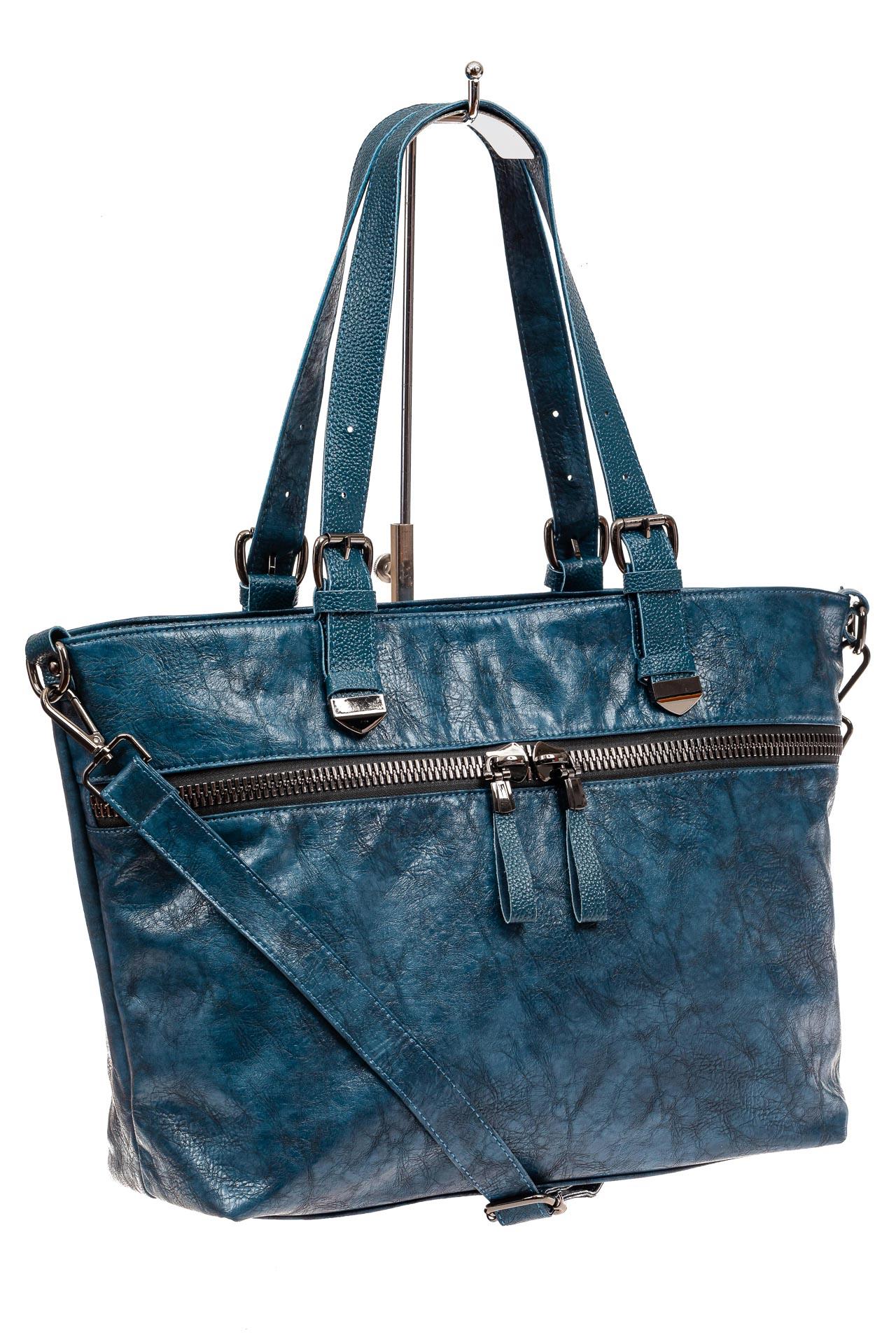 На фото 1 - Большая сумка женская комбинированная, цвет синий
