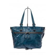 На фото 2 - Большая сумка женская комбинированная, цвет синий