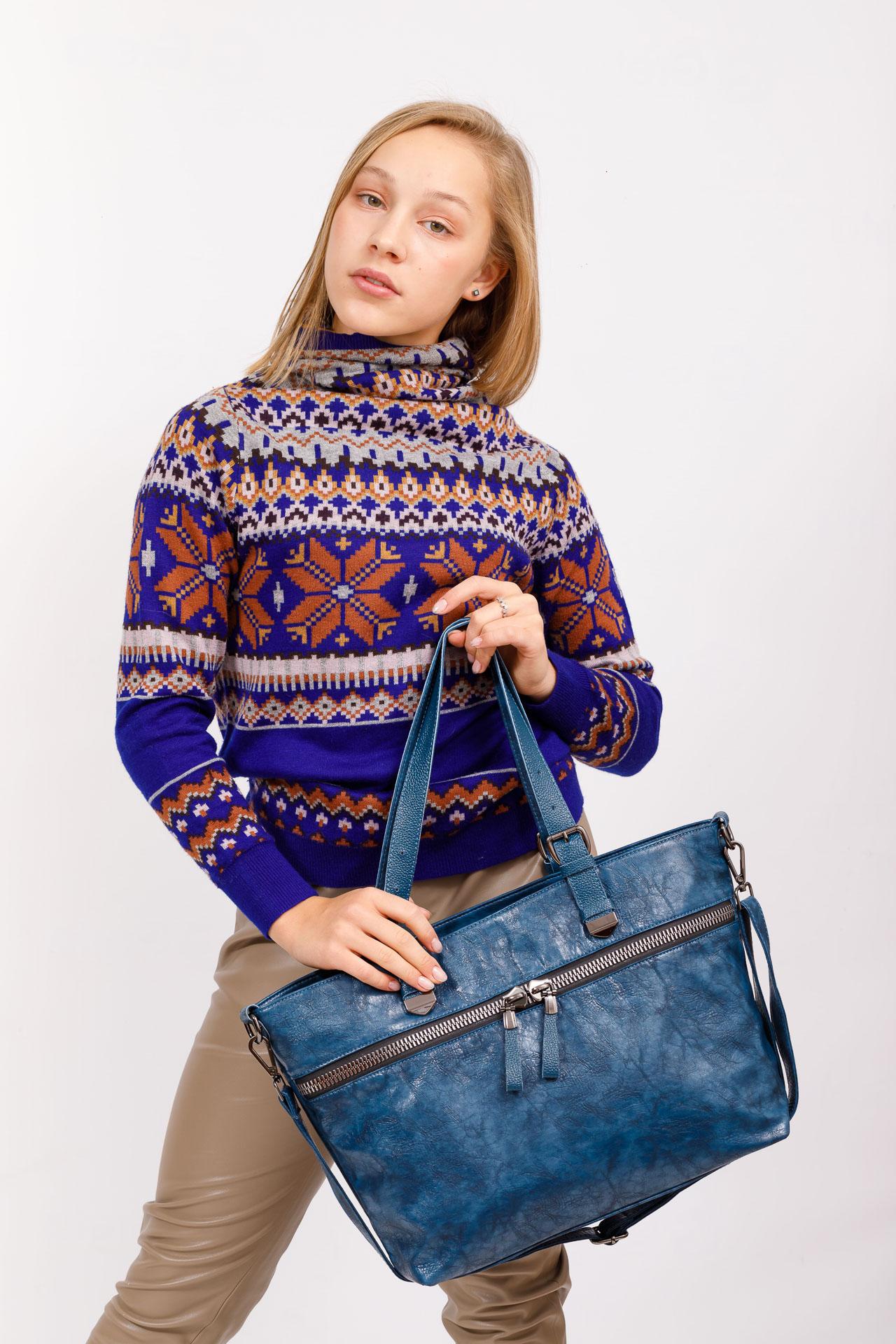 На фото 5 - Большая сумка женская комбинированная, цвет синий