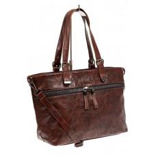 На фото 1 - Большая сумка женская комбинированная, цвет коричневый