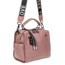 На фото 1 - Сумка-рюкзак молодёжная из экокожи, цвет розовый