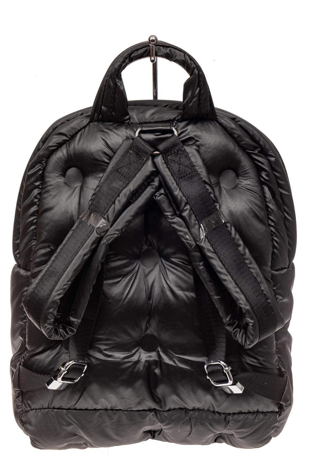 На фото 3 - Дутый рюкзак из болоньевой ткани, цвет черный