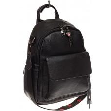 На фото 1 - Женский рюкзак из натуральной зернистой кожи, черный цвет