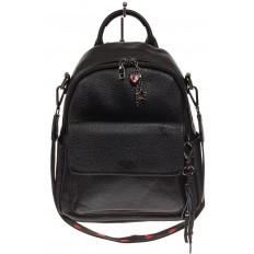 На фото 2 - Женский рюкзак из натуральной зернистой кожи, черный цвет
