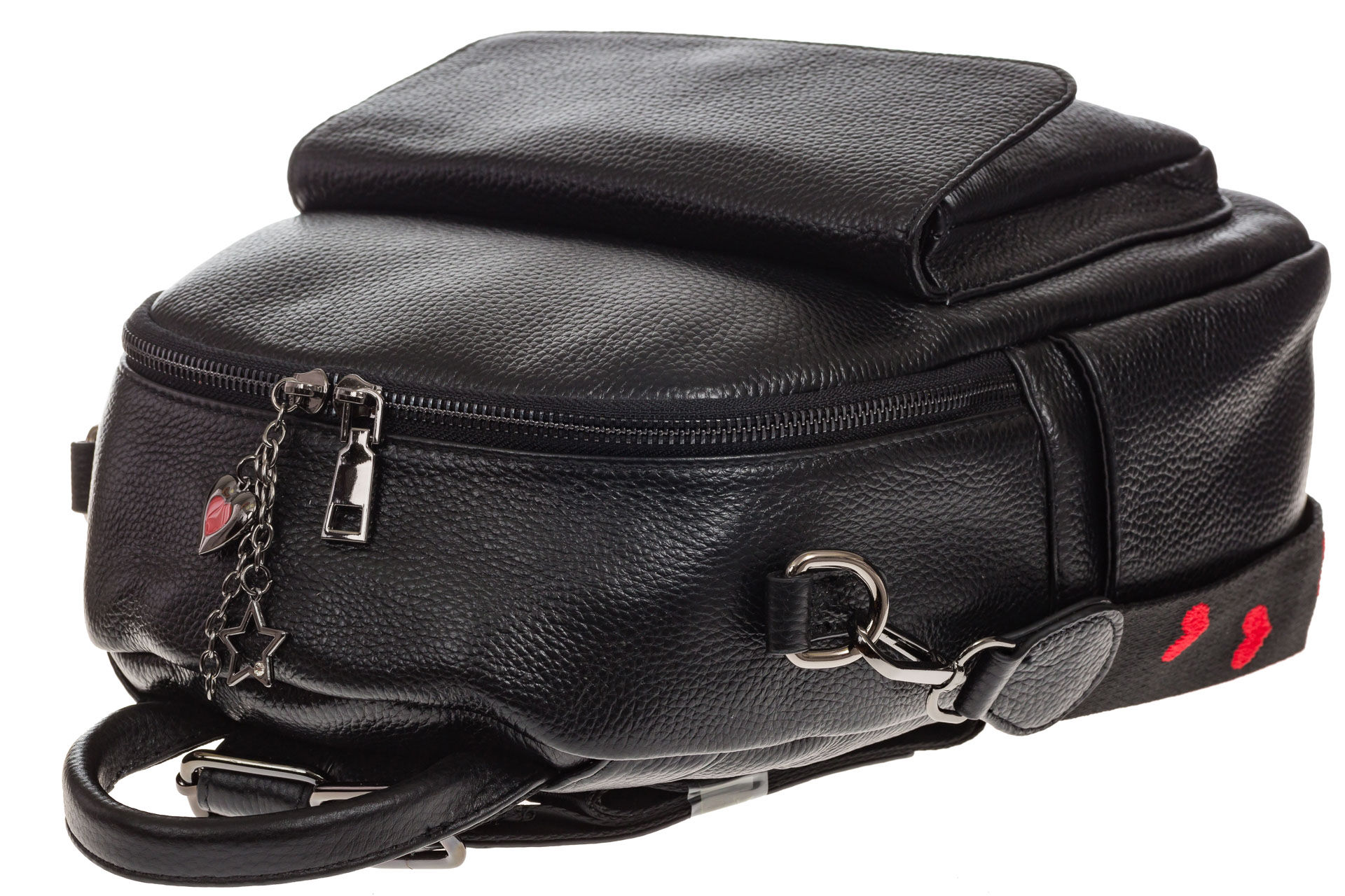 На фото 4 - Женский рюкзак из натуральной зернистой кожи, черный цвет