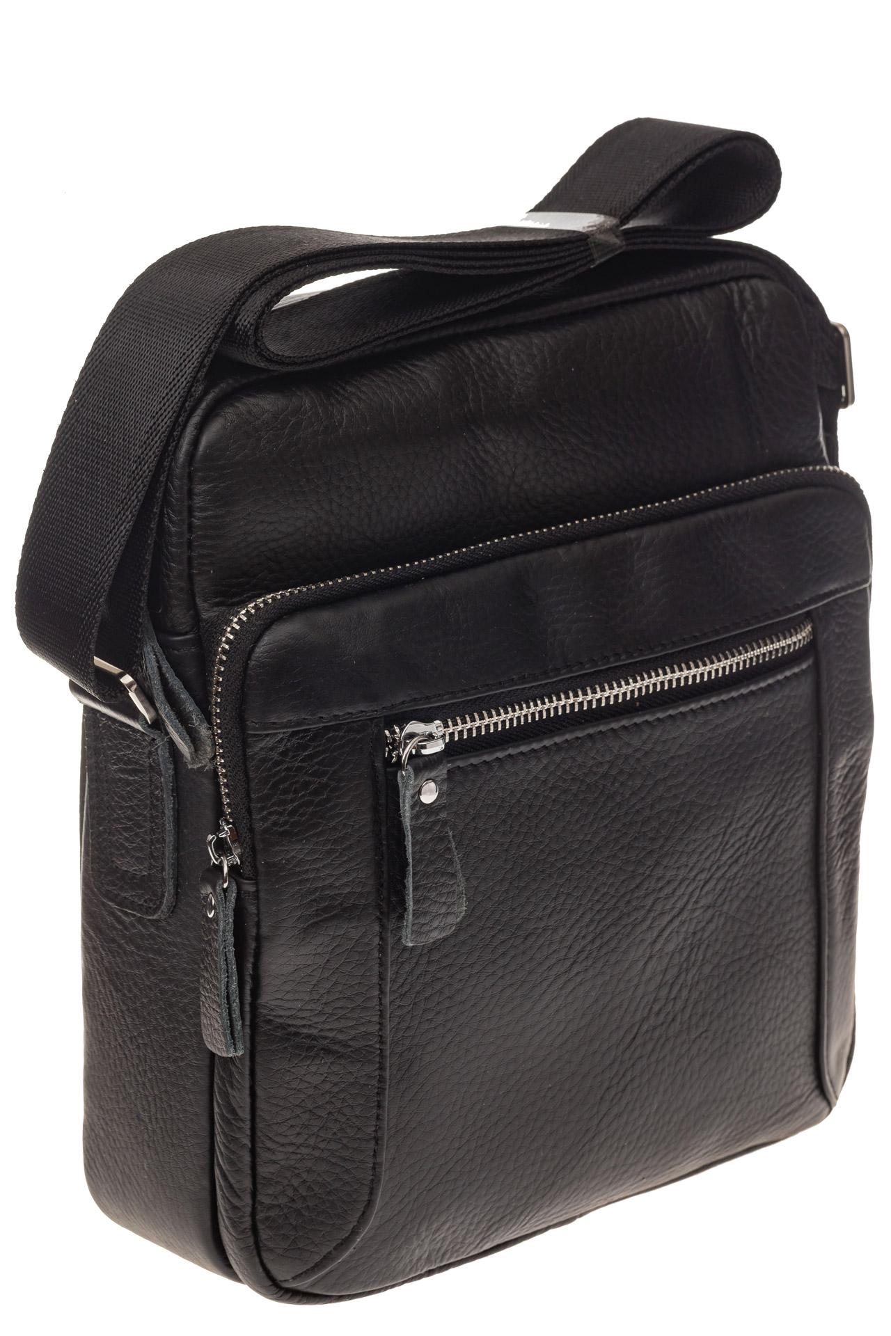 На фото 1 - Квадратная мужская сумка из кожи, цвет черный