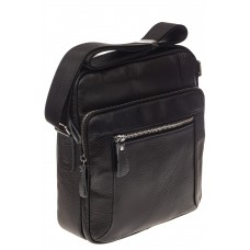На фото 1 - Квадратная мужская сумка из кожи, цвет черн...
