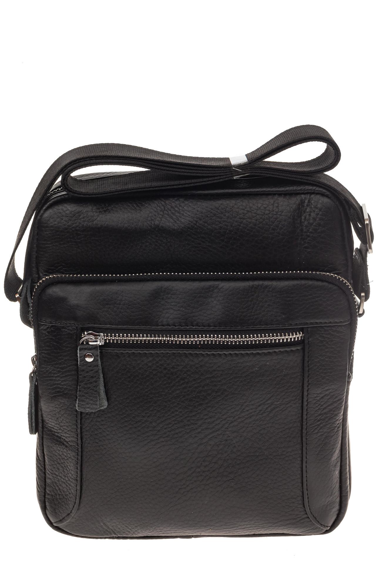 На фото 2 - Квадратная мужская сумка из кожи, цвет черный