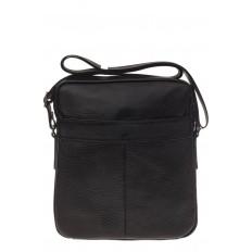 На фото 3 - Квадратная мужская сумка из кожи, цвет черный