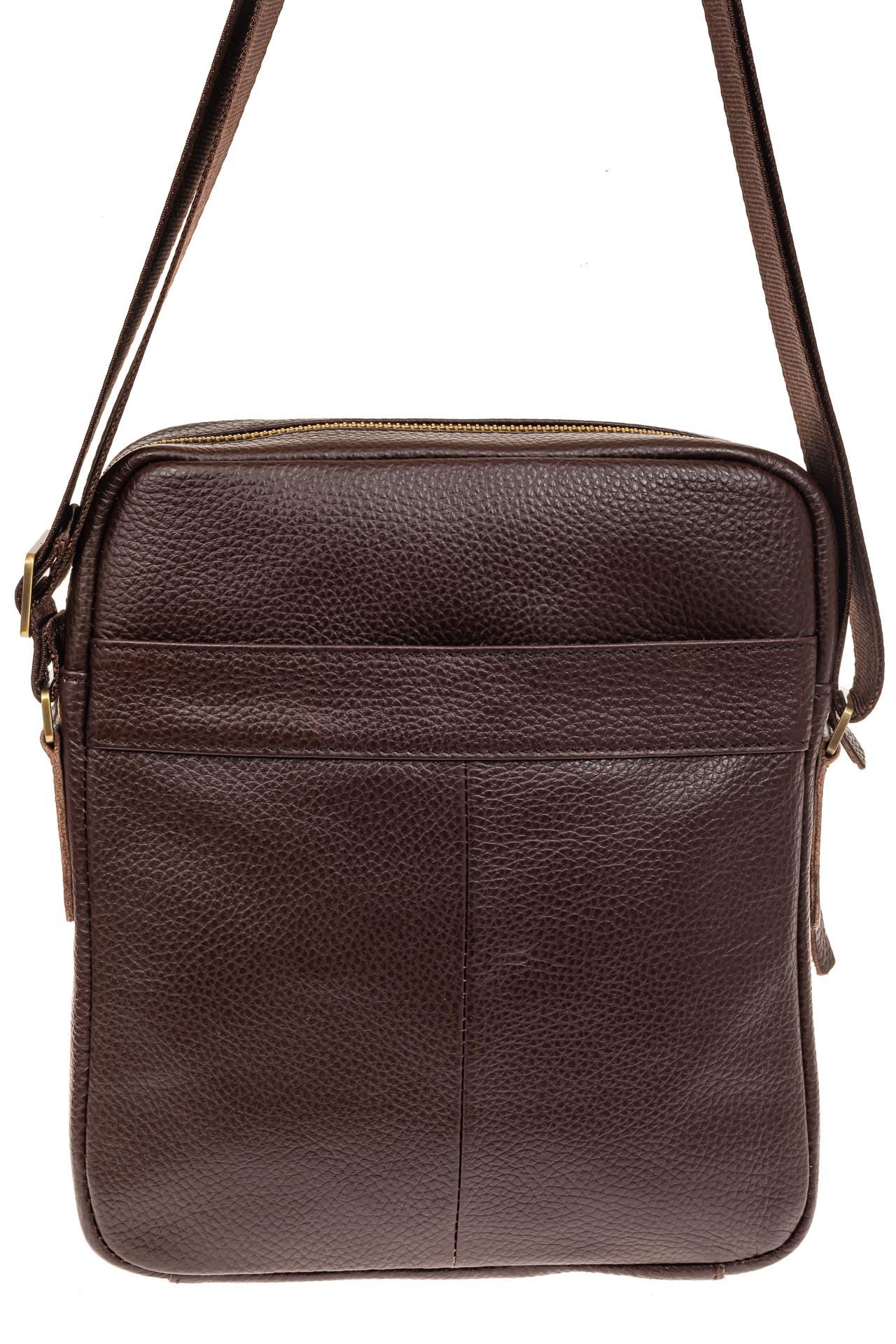 На фото 2 - Мужская кожаная сумка, цвет коричневый