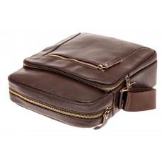 На фото 3 - Мужская кожаная сумка, цвет коричневый