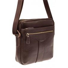 На фото 1 - Мужская кожаная сумка, цвет коричневый