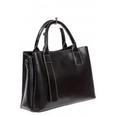 На фото 1 - Каркасная сумка из натуральной кожи, цвет чёрный