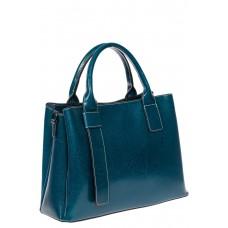 На фото 1 - Каркасная сумка из натуральной кожи, цвет бирюзовый