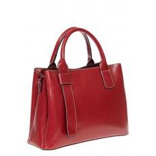 На фото 1 - Каркасная сумка из натуральной кожи, цвет красный