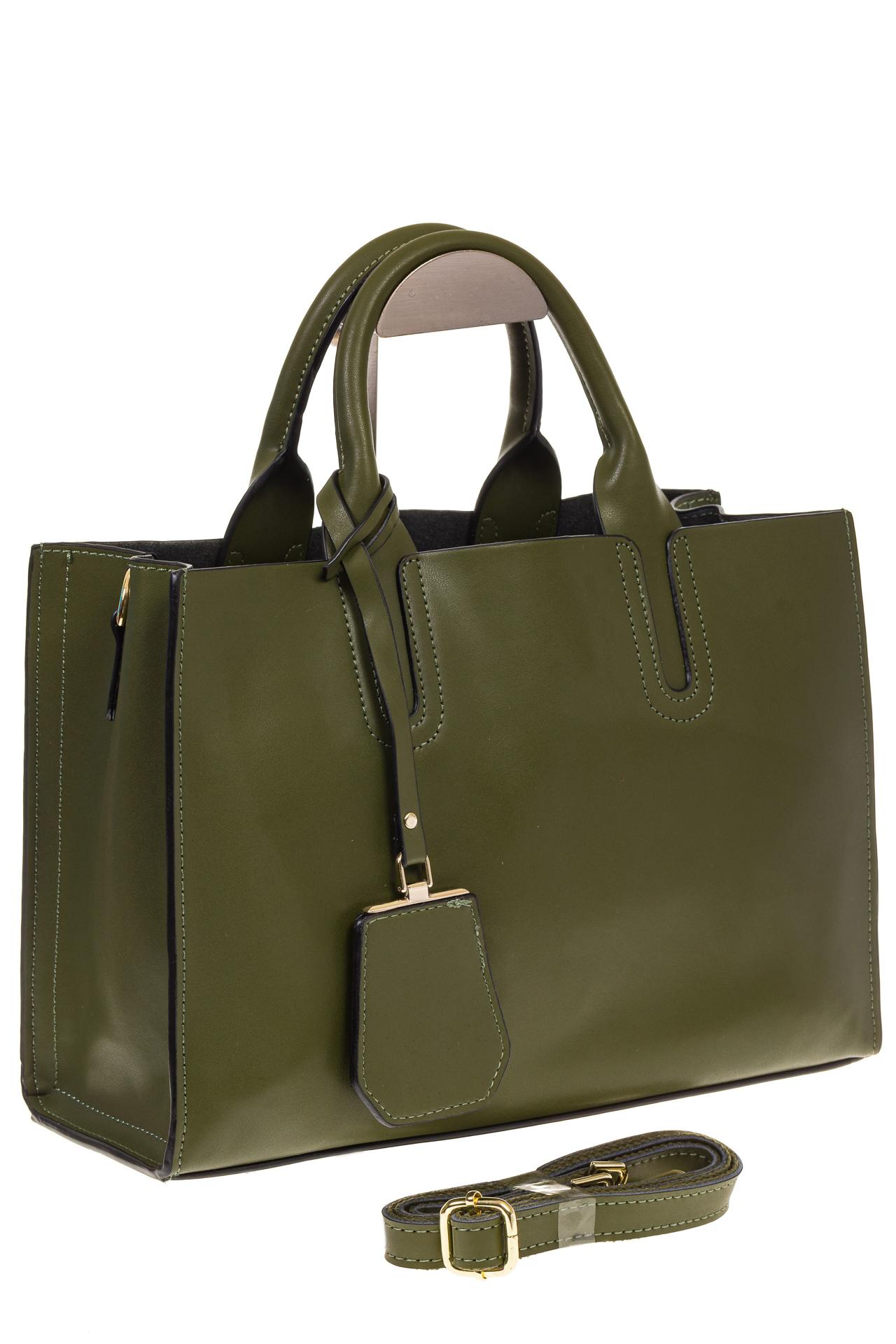 На фото 1 - Зеленая сумка-шопер из натуральной кожи 6004