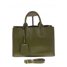 На фото 2 - Зеленая сумка-шопер из натуральной кожи 6004