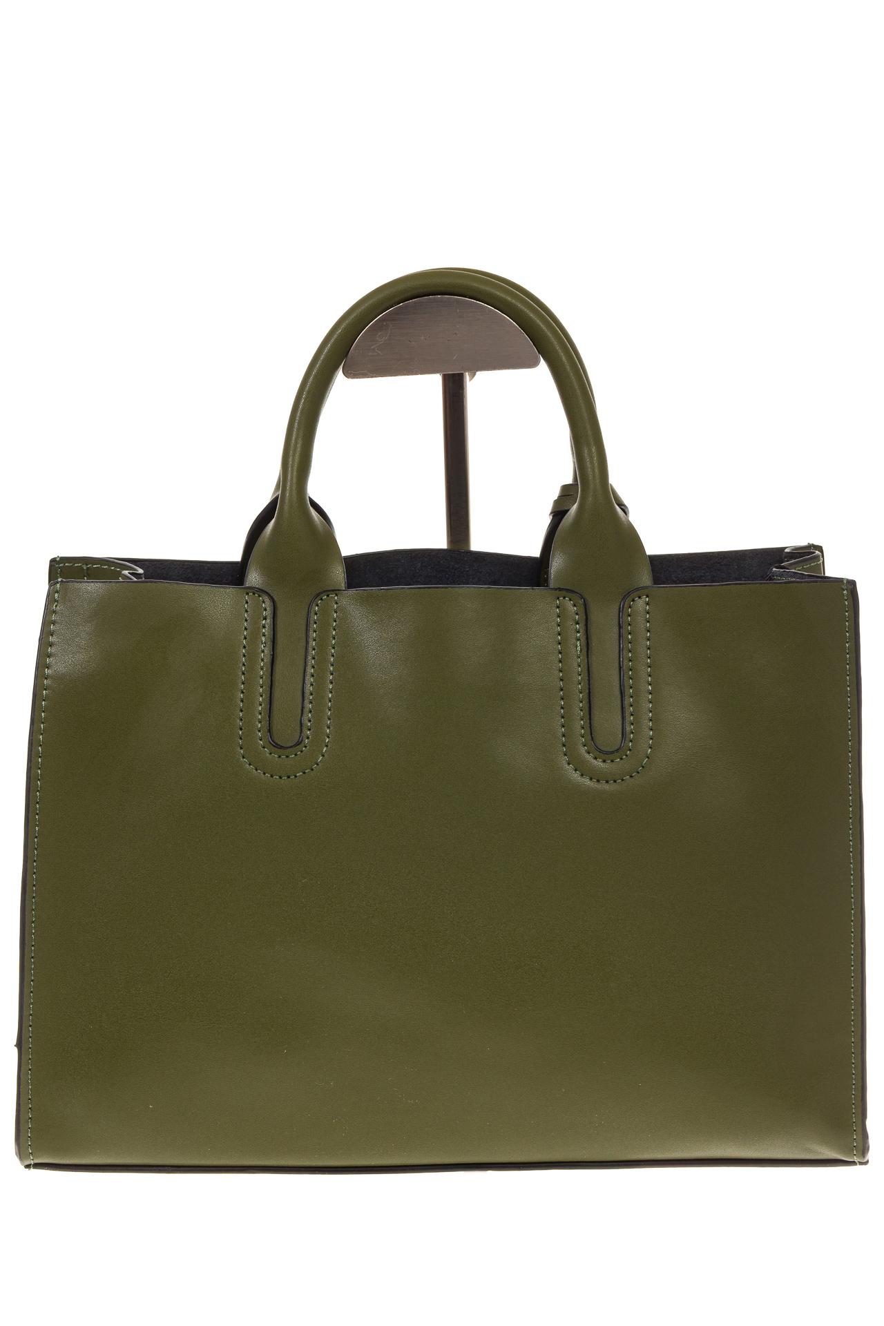 На фото 3 - Зеленая сумка-шопер из натуральной кожи 6004