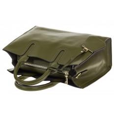 На фото 4 - Зеленая сумка-шопер из натуральной кожи 6004