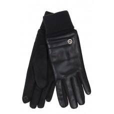 На фото 1 - Кожаные женские перчатки на флисе, цвет чёрный