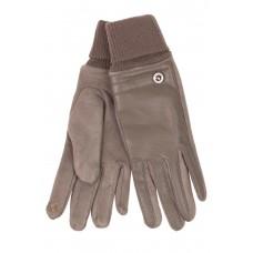 На фото 1 - Кожаные женские перчатки на флисе, цвет бежевый