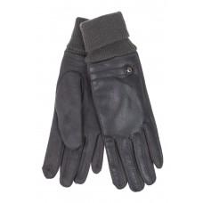 На фото 1 - Кожаные женские перчатки на флисе, цвет серый