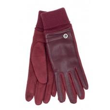 На фото 1 - Кожаные женские перчатки на флисе, цвет бордо