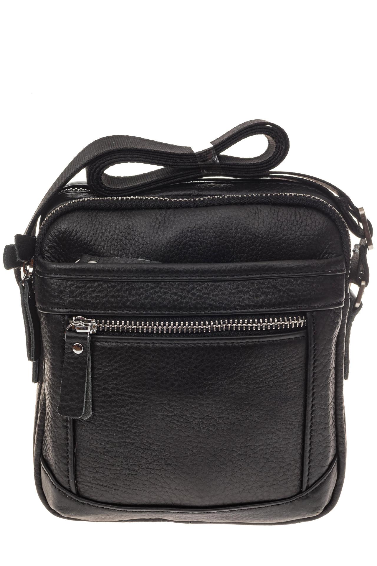 На фото 2 - Маленькая квадратная мужская сумка из натуральной кожи