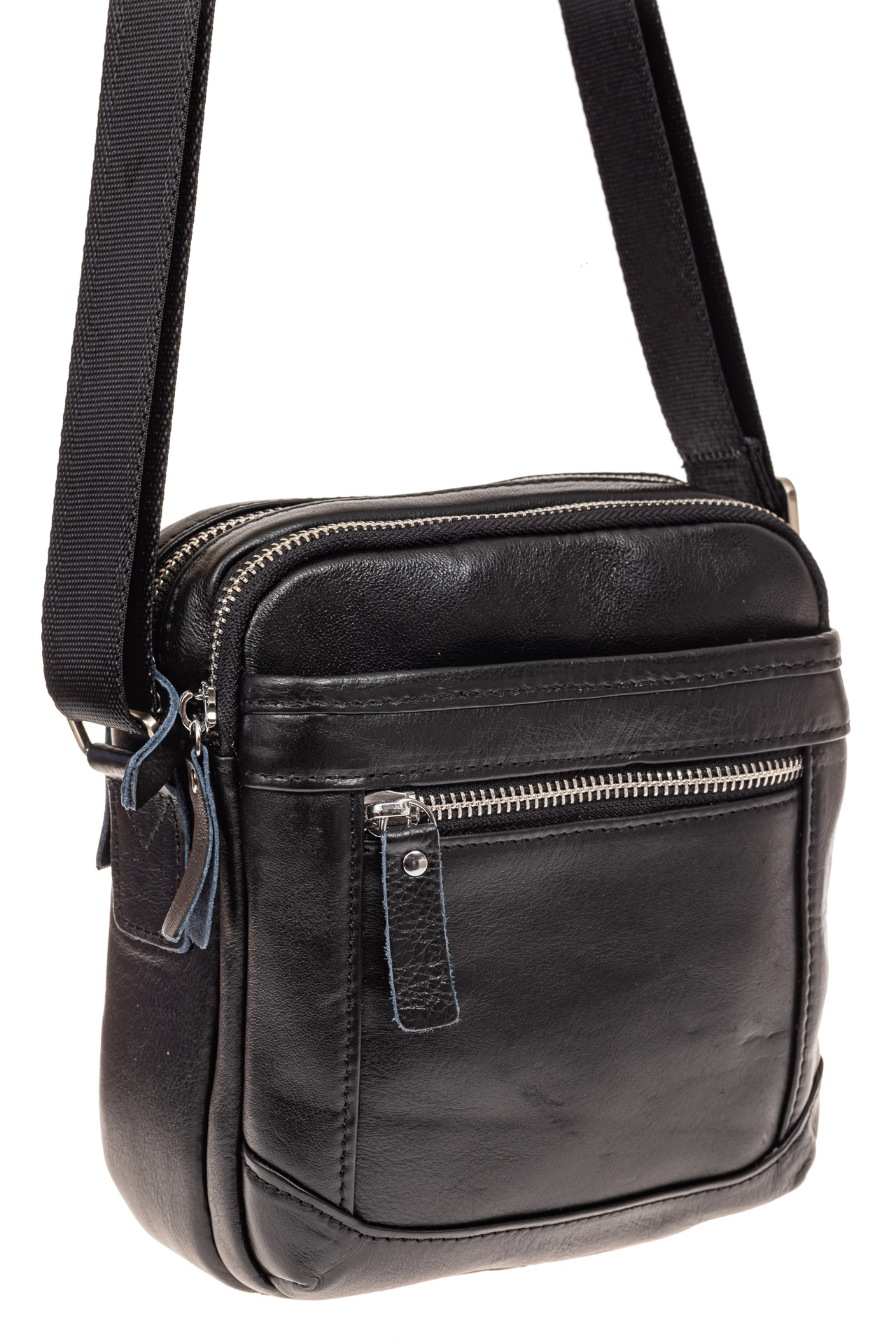 На фото 1 - Мужская сумка через плечо, натуральная кожа, цвет черный