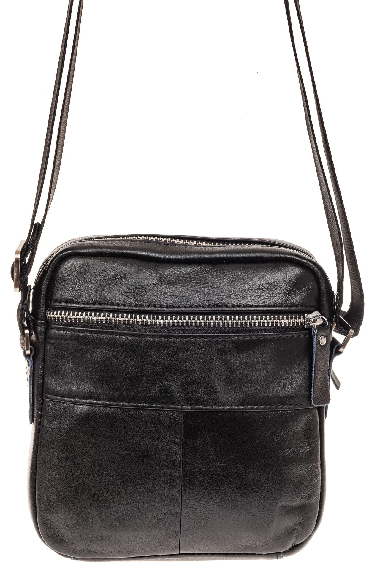 На фото 2 - Мужская сумка через плечо, натуральная кожа, цвет черный