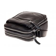 На фото 3 - Мужская сумка через плечо, натуральная кожа, цвет черный