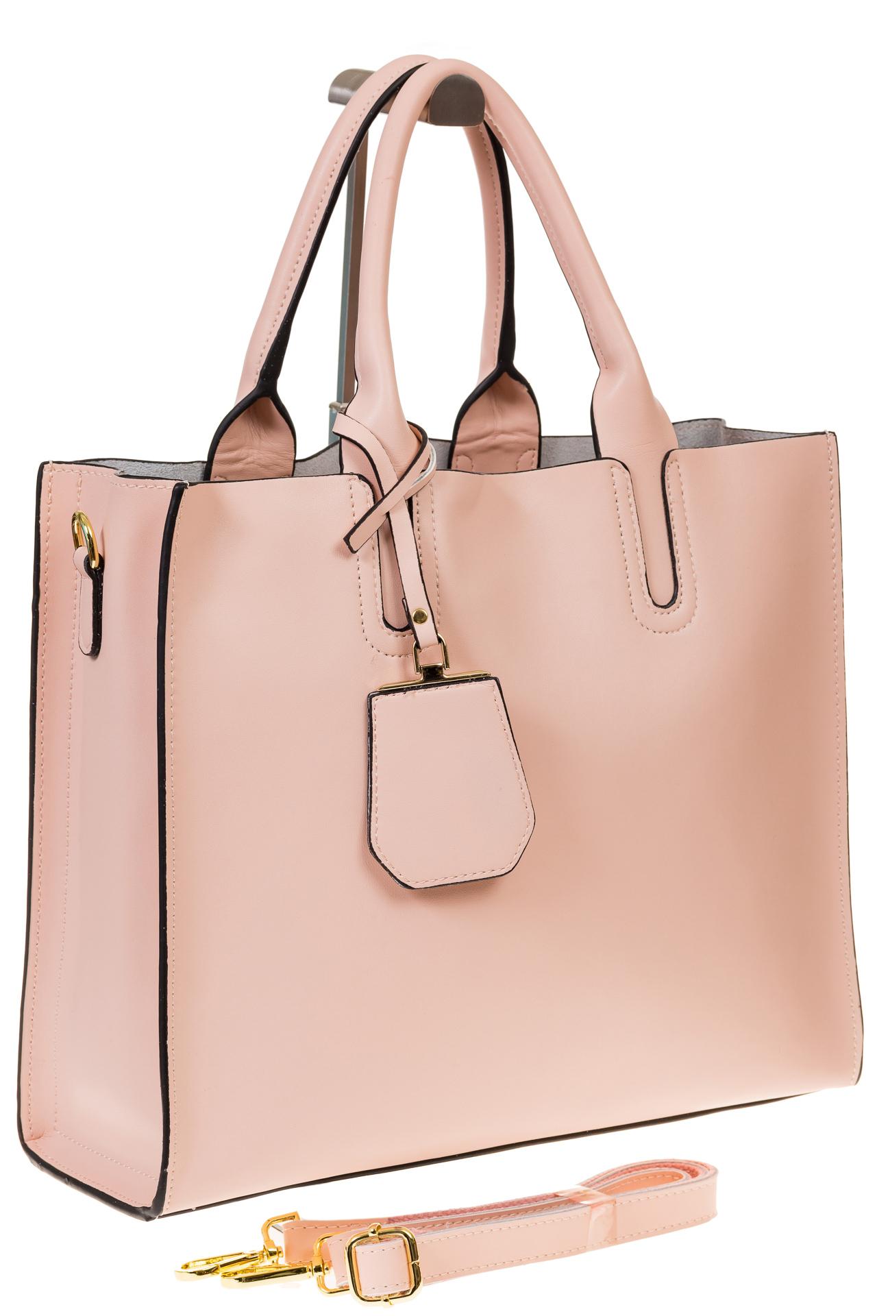 На фото 1 - Женская сумка-шопер розового цвета 6009MK5
