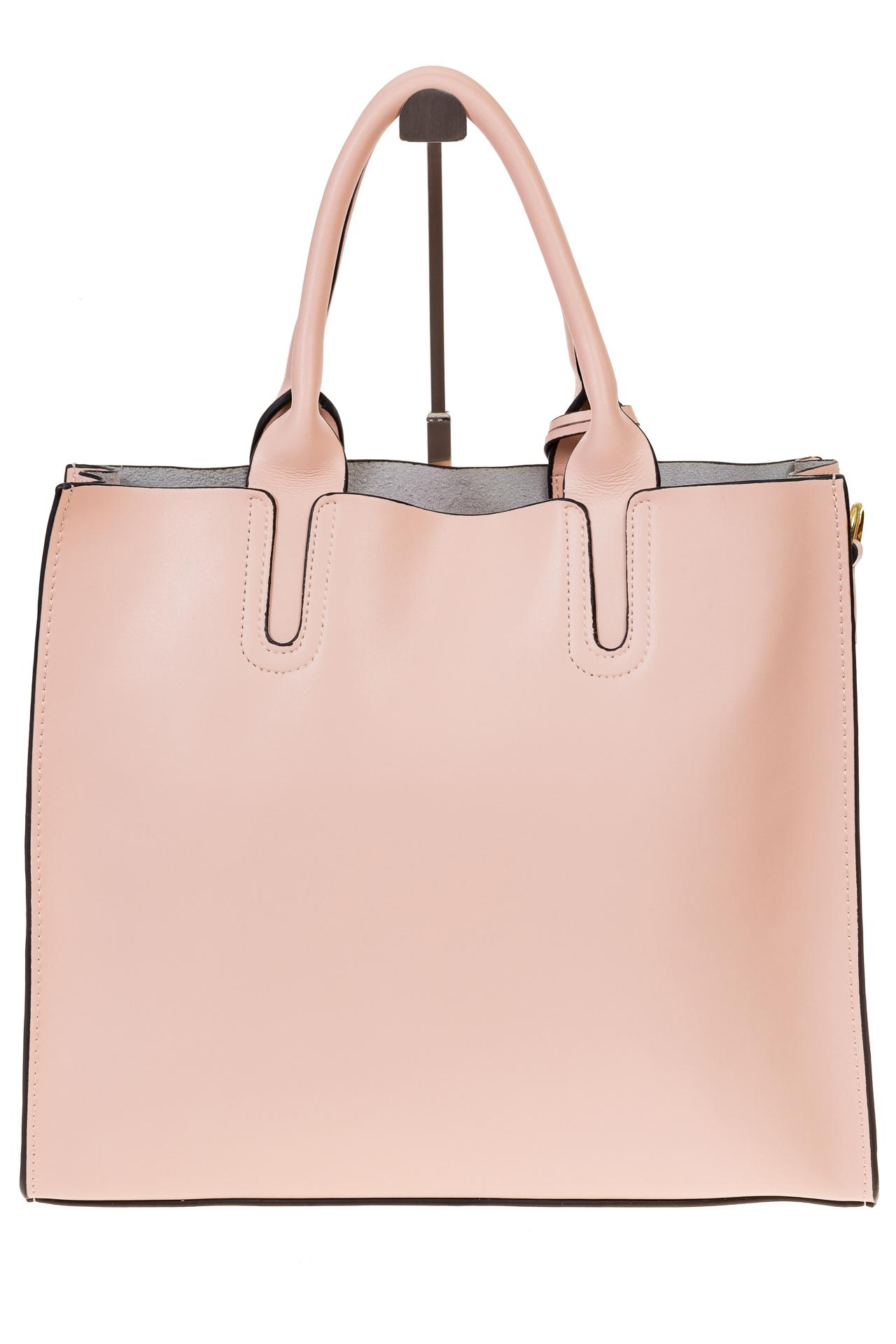 На фото 3 - Женская сумка-шопер розового цвета 6009MK5