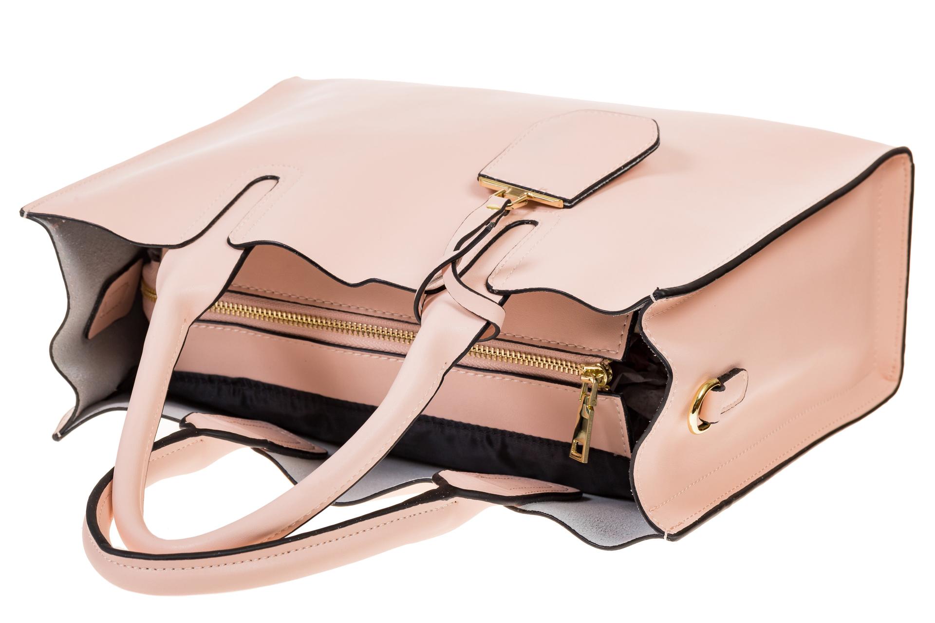 На фото 4 - Женская сумка-шопер розового цвета 6009MK5