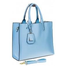 На фото 1 - Женская сумка-шопер голубого цвета 6009MK5