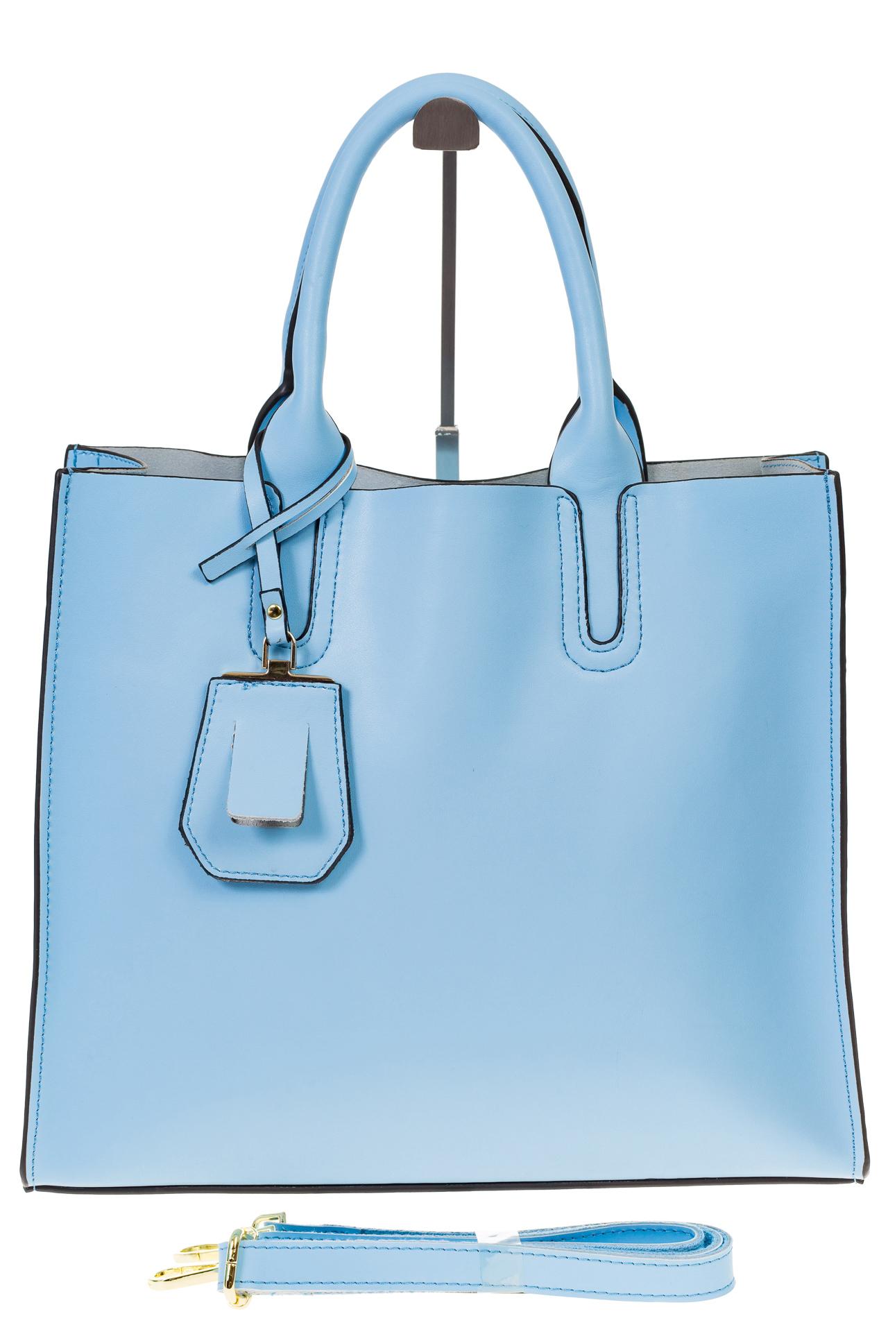 На фото 2 - Женская сумка-шопер голубого цвета 6009MK5