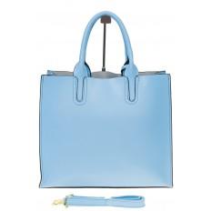 На фото 3 - Женская сумка-шопер голубого цвета 6009MK5