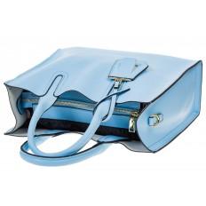 На фото 4 - Женская сумка-шопер голубого цвета 6009MK5