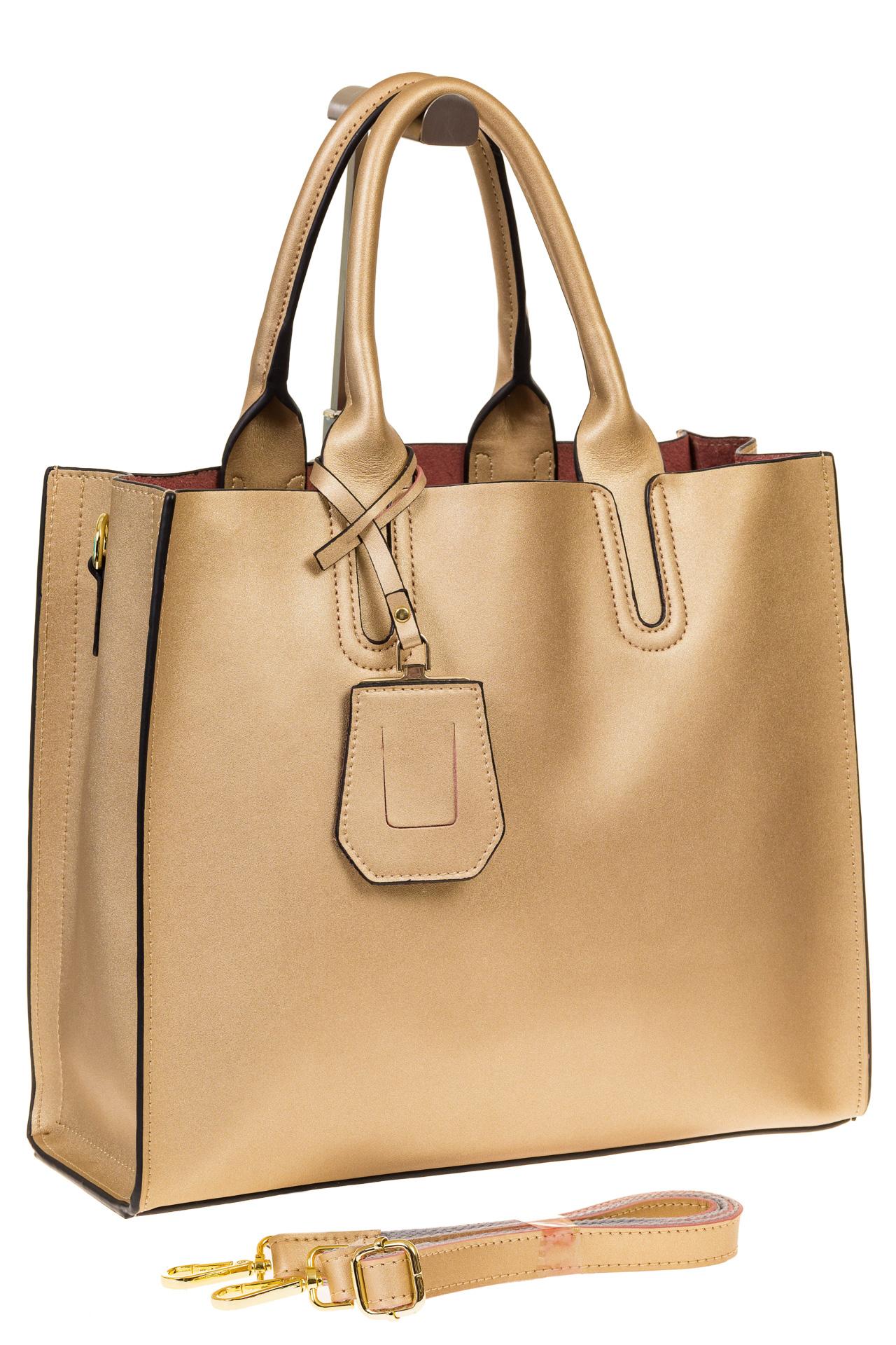 На фото 1 - Женская сумка-шопер золотистого цвета 6009MK5