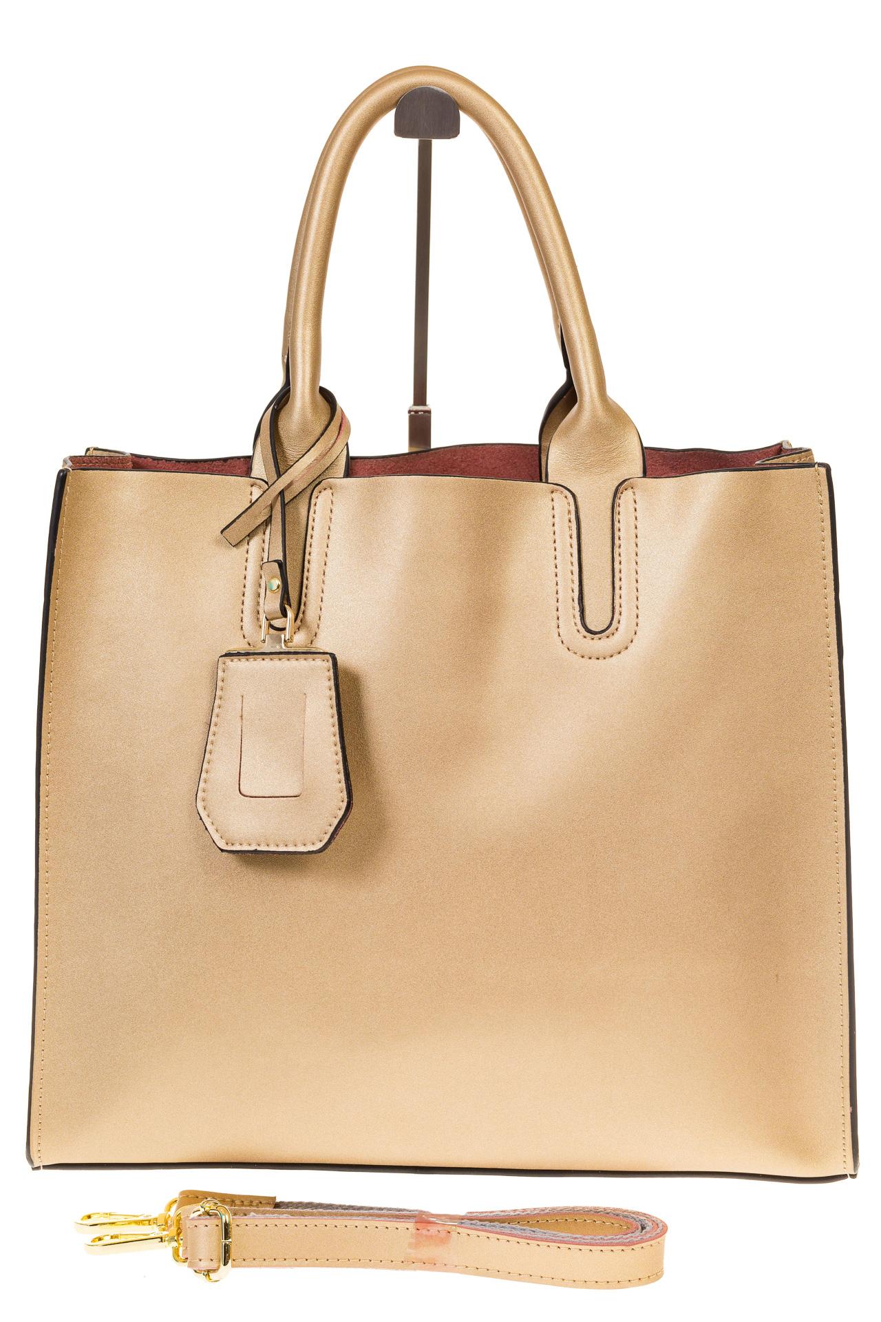 На фото 2 - Женская сумка-шопер золотистого цвета 6009MK5